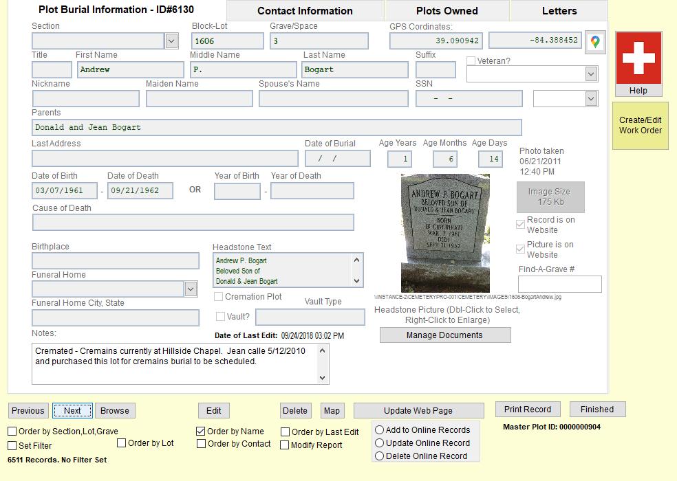 CemeteryPro Cemetery Record