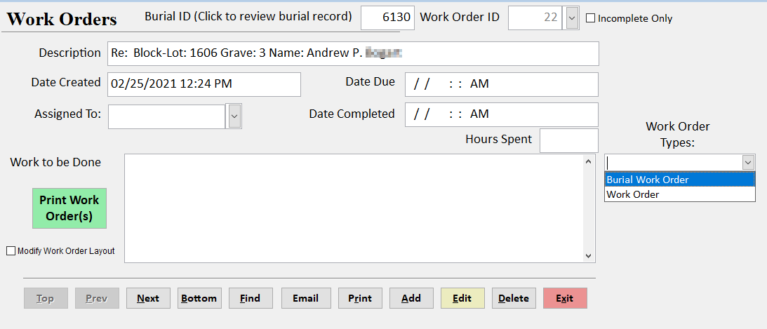 CemeteryPro Work Orders