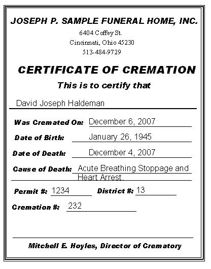 Cremation Certificate